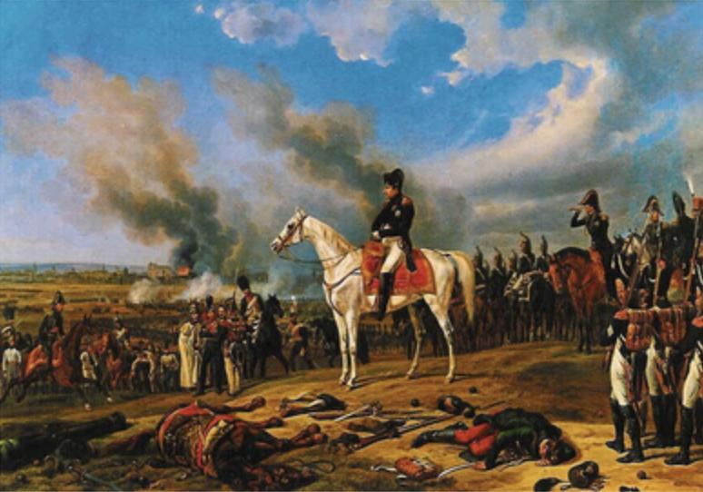 Napoleon blickt auf das brennende Regensburg. Gemälde von Albrecht Adams, 1840 Historisches Museum Regensburg